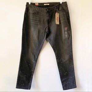 NWT Levi's 711 Skinny Black On the Run Wash 22W
